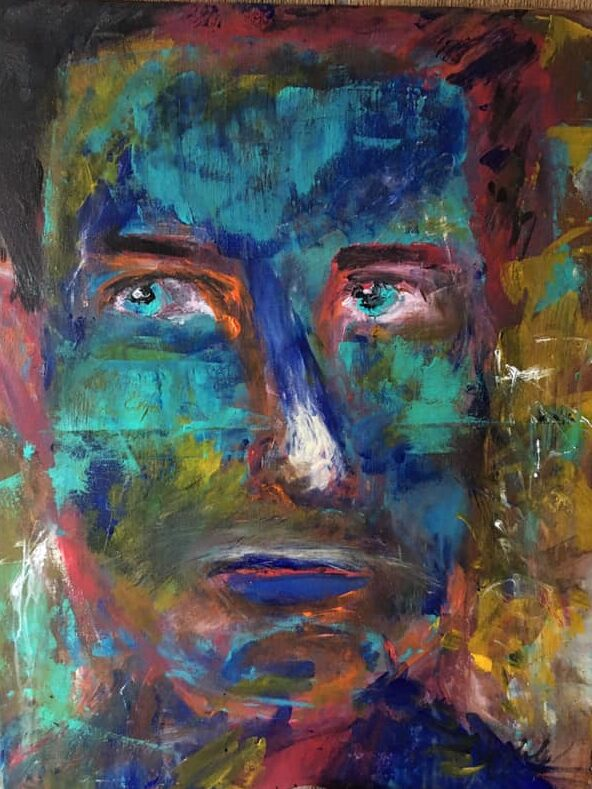 1 Looking Through Your Soul, 2019, 24 by 30 inches, acylic